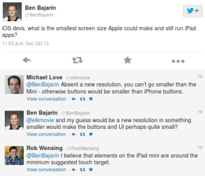 Twitter discussion on a smaller iPad